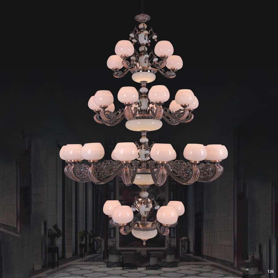 Đèn chùm đồng đá tay cầm khắc hoa văn tinh xảo sang trọng cao cấp 4 tầng 2911/35