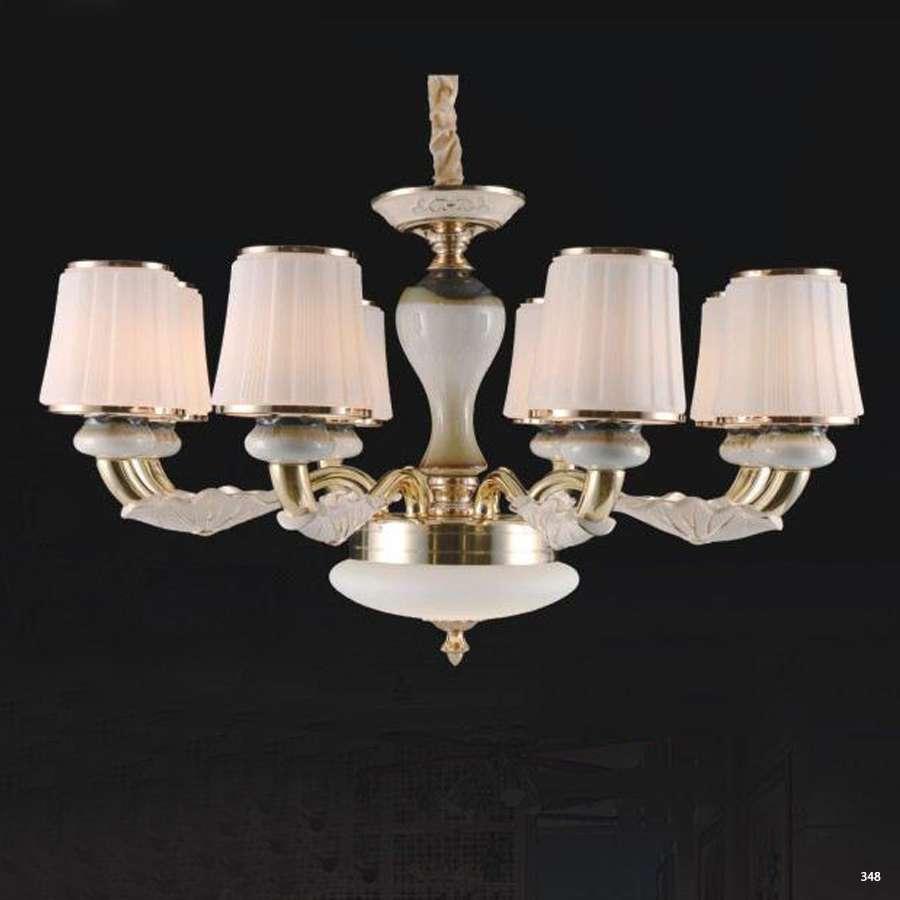 Đèn chùm hiện đại trang trí thân đèn bằng hợp kim cao cấp khắc họa tiết nổi và chóa đèn bằng pha lê sang trọng 832/8