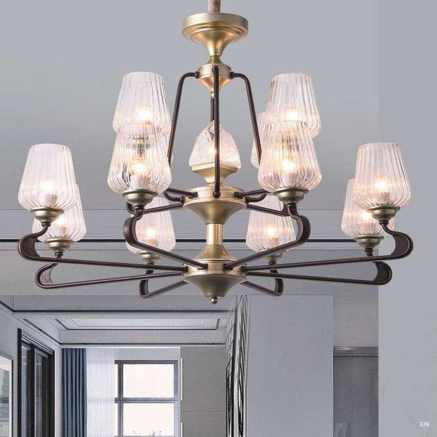 Đèn chùm hiện đại trang trí thân đèn bằng hợp kim sơn tĩnh điện và chóa đèn bằng thủy tinh cao cấp sang trọng 2 tầng 9201-8+4H