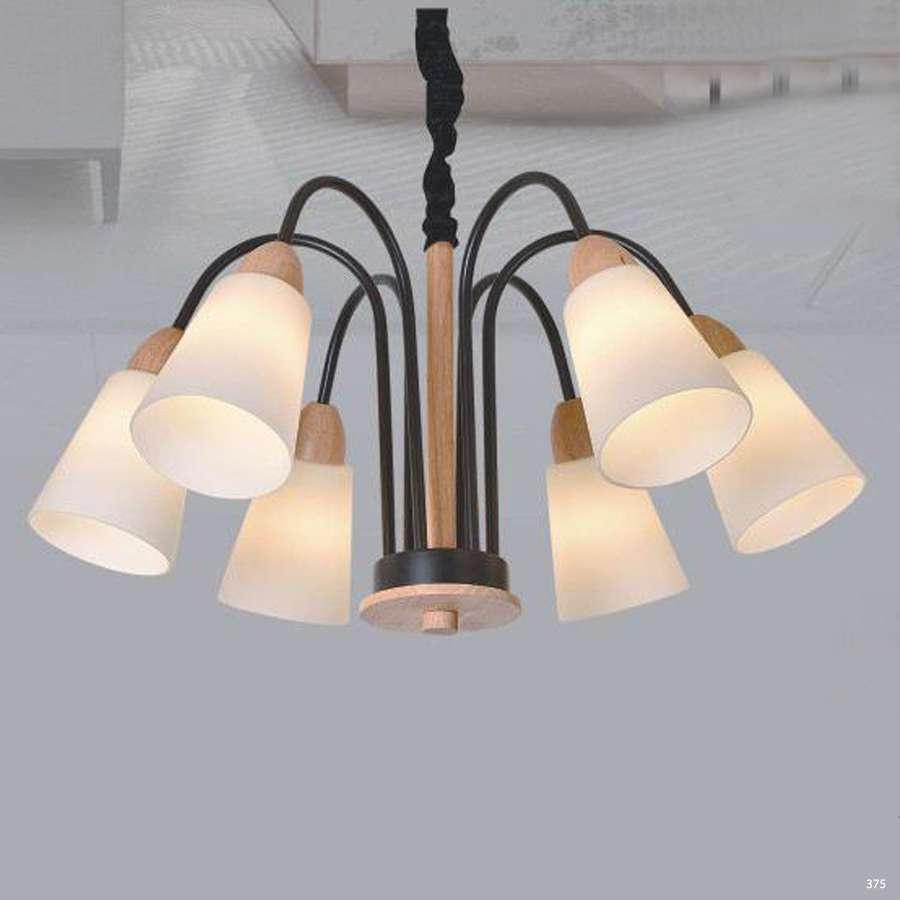 Đèn chùm hiện đại trang trí thân đèn bằng hợp kim sơn tĩnh điện và chóa đèn bằng thủy tinh cao cấp sang trọng 8040/6