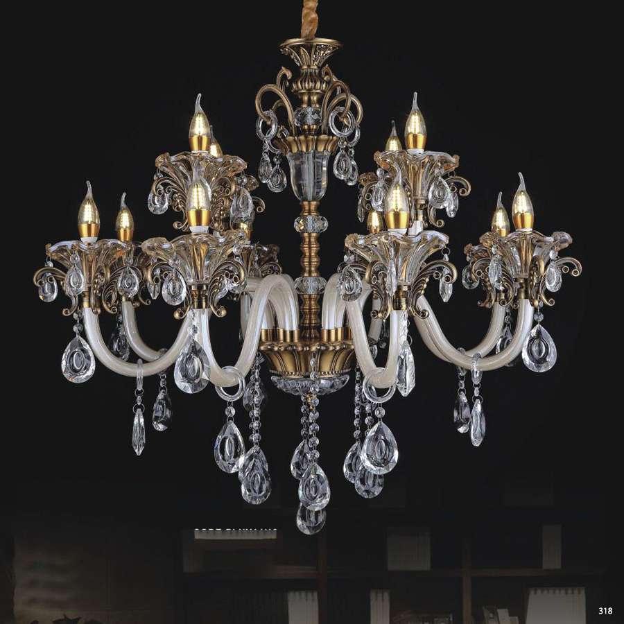 Đèn chùm nến mang phong cách Châu Âu thân đèn bằng hợp kim cao cấp chống rỉ và đính dây thả pha lê sang trọng PLNY14/12