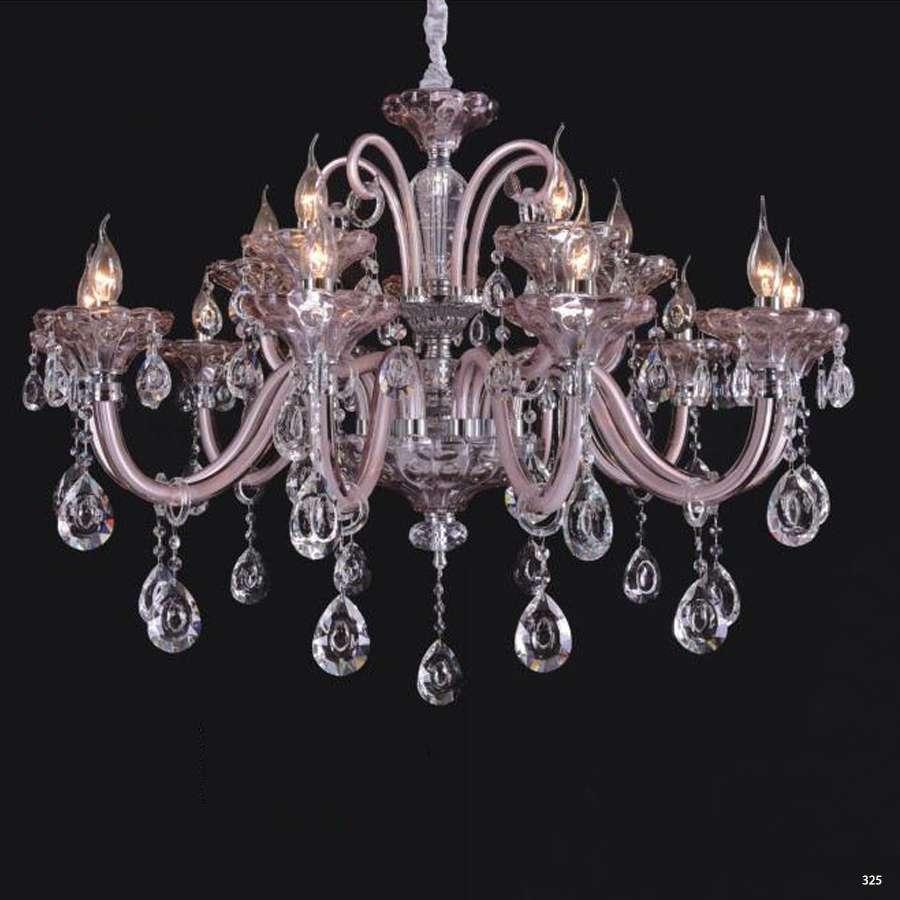 Đèn chùm nến mang phong cách Châu Âu thân đèn bằng hợp kim cao cấp và chóa đèn bằng pha lê khắc nhiều họa tiết sang trọng 9069-15