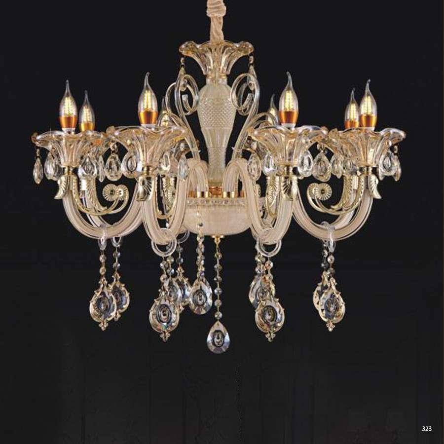 Đèn chùm nến mang phong cách Châu Âu thân đèn bằng hợp kim và pha lê trong suốt cao cấp khắc nhiều họa tiết sang trọng 9087/8