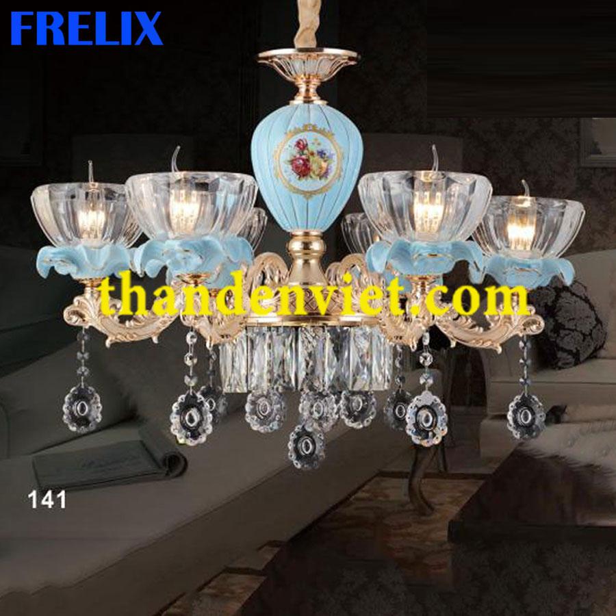 Đèn chùm pha lê nến trang trí phòng khách hiện đại 9809/6