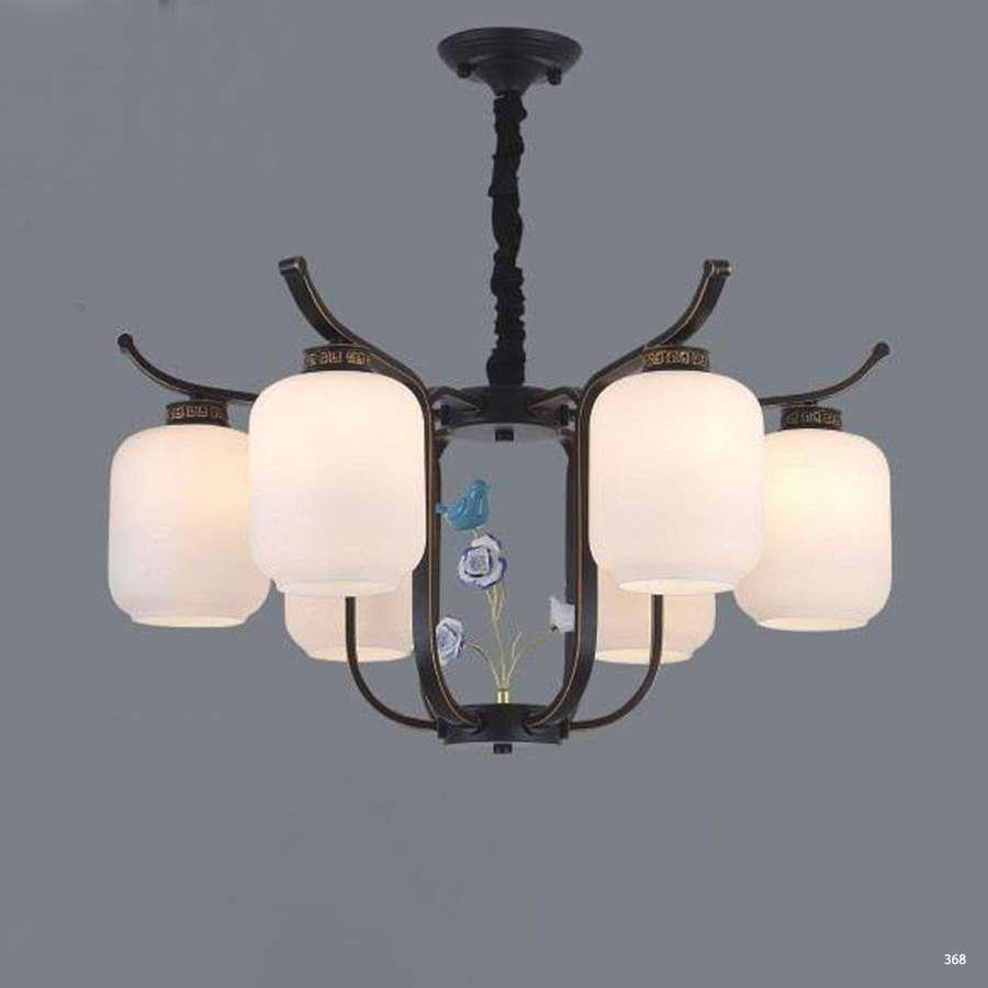 Đèn chùm trang trí mang phong cách Châu Âu đèn bằng hợp kim cao cấp đính họa tiết và chóa đèn bằng thủy tinh sang trọng 3063/6