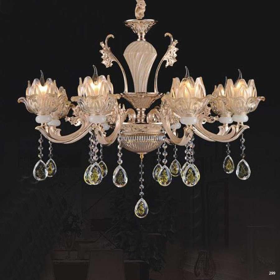 Đèn chùm trang trí phong cách hiện đại chao đèn bằng thủy tinh cao cấp khắc nhiều hoa văn và đính dây thả pha lê sang trọng 8612/8
