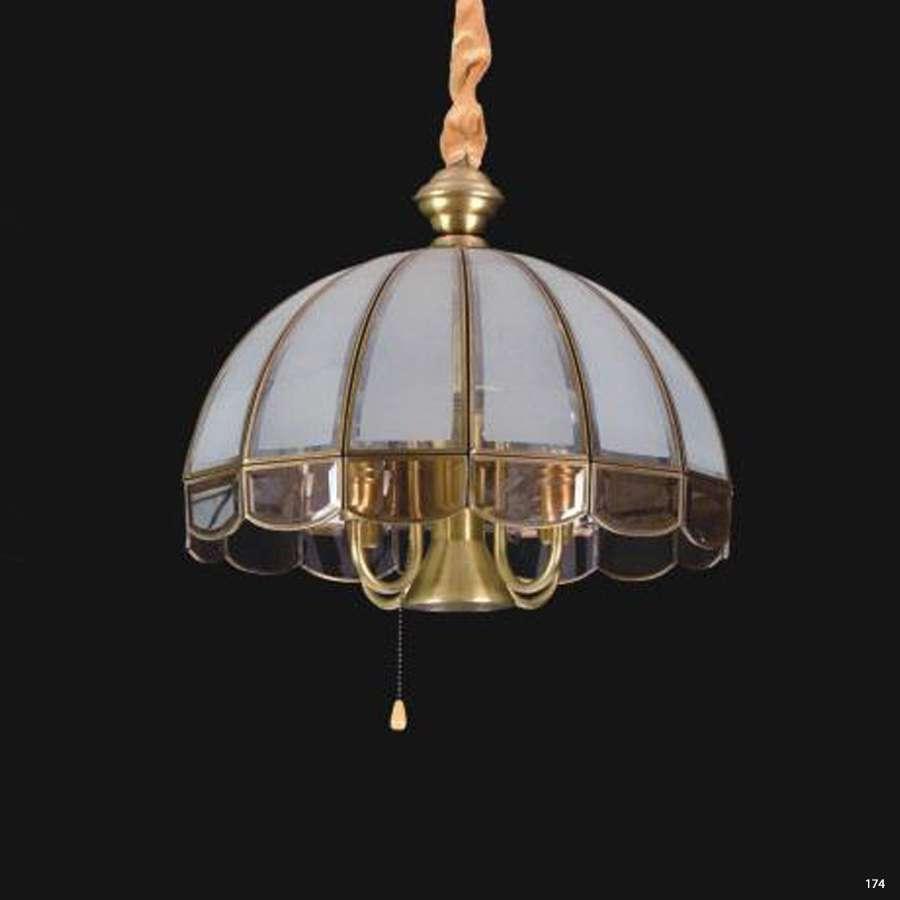 Đèn thả đồng cao cấp chao đèn bằng thủy tinh hình nón sang trọng D9016-5