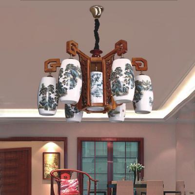 Đèn chùm cổ điển phù hợp trang trí chùa chiền hàng cao cấp DGG9027/6+1
