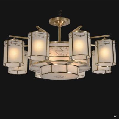 Đèn chùm cổ điển thân bằng đồng nguyên chất cao cấp chóa đèn bằng thủy tinh sang trọng DCA32017/8