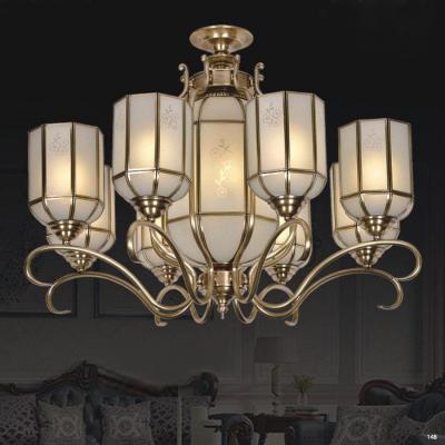 Đèn chùm cổ điển thân bằng đồng nguyên chất cao cấp chóa đèn bằng thủy tinh sang trọng DCA32018/8+