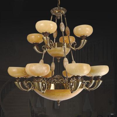 Đèn chùm đồng đá phong cách Châu Âu sang trọng cao cấp 2 tầng DD1171/12