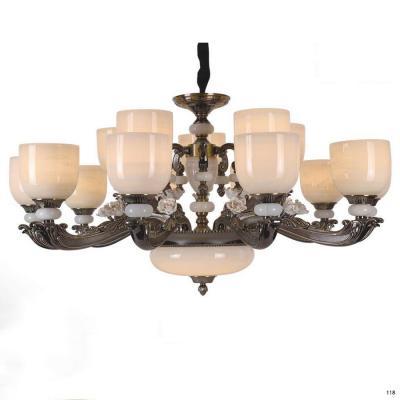 Đèn chùm đồng đá thân đèn bằng hợp kim đồng kèm họa tiết hoa sang trọng 2852/8 +4