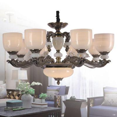 Đèn chùm đồng đá thân đèn bằng hợp kim đồng kèm họa tiết hoa sang trọng giá rẻ nhất 2852/8