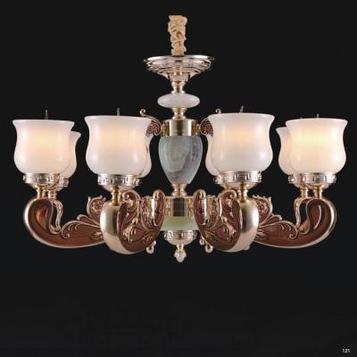 Đèn chùm đồng đá thân đèn bằng hợp kim đồng phong cách Châu Âu sang trọng 8830/8