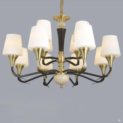 Đèn chùm hiện đại 2 tầng thân bằng đồng nguyên chất chóa đèn bằng thủy tinh thiết kế họa tiết sang trọng 8672/8+4