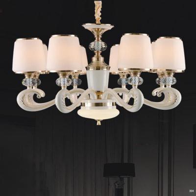 Đèn chùm hiện đại mang phong cách Châu Âu đèn bằng hợp kim cao cấp khắc họa tiết nổi và chóa đèn bằng pha lê sang trọng 803/8