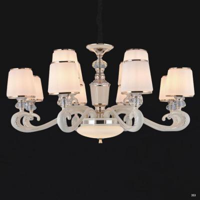 Đèn chùm hiện đại mang phong cách Châu Âu đèn bằng hợp kim cao cấp khắc họa tiết nổi và chóa đèn bằng pha lê sang trọng 803/8+4