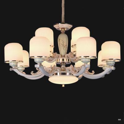 Đèn chùm hiện đại mang phong cách Châu Âu đèn bằng hợp kim cao cấp khắc họa tiết nổi và chóa đèn bằng pha lê sang trọng 827/8+4
