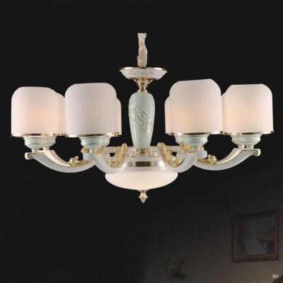 Đèn chùm hiện đại mang phong cách Châu Âu đèn bằng hợp kim cao cấp khắc họa tiết nổi và chóa đèn bằng pha lê sang trọng 827/8