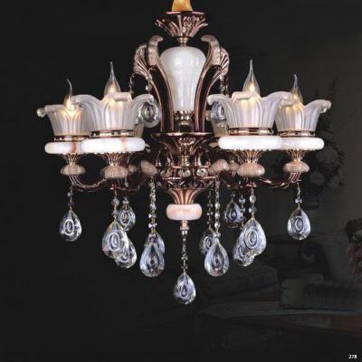 Đèn chùm hiện đại nến trang trí thân đèn bằng hợp kim cao cấp chống rỉ kèm nhiều họa tiết nổi và dây thả pha lê sang trọng PLNA05/6