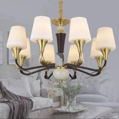 Đèn chùm hiện đại thân bằng đồng nguyên chất chóa đèn bằng thủy tinh thiết kế họa tiết sang trọng 8672/8