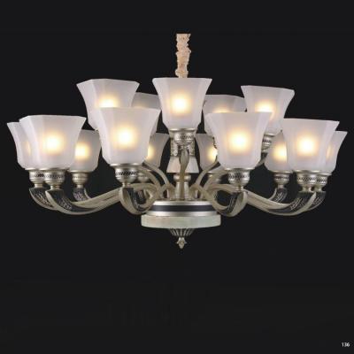 Đèn chùm hiện đại thân bằng hợp kim đá thiên nhiên chao đèn bằng thủy tinh cao cấp sang trọng 8204/10+5