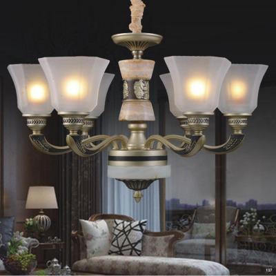 Đèn chùm hiện đại thân bằng hợp kim đá thiên nhiên chao đèn bằng thủy tinh cao cấp sang trọng 8204/6