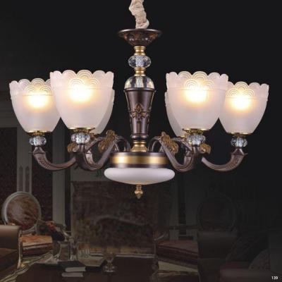 Đèn chùm hiện đại thân bằng hợp kim giả cổ chao đèn bằng thủy tinh cao cấp sang trọng 60188/6