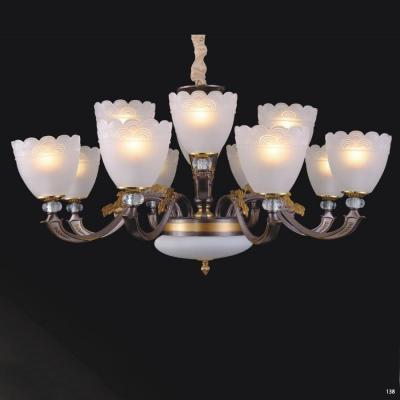Đèn chùm hiện đại thân bằng hợp kim giả cổ chao đèn bằng thủy tinh cao cấp sang trọng 60188/8+4