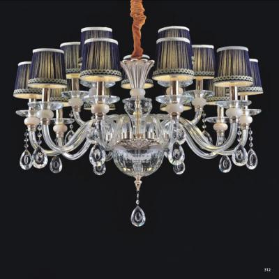 Đèn chùm hiện đại thân đèn bằng hợp kim cao cấp kết hợp với pha lê trong suốt chóa đèn bằng vải đính họa tiết sang trọng 9068-15