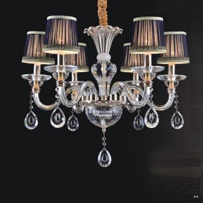 Đèn chùm hiện đại thân đèn bằng hợp kim cao cấp kết hợp với pha lê trong suốt chóa đèn bằng vải đính họa tiết sang trọng 9068-