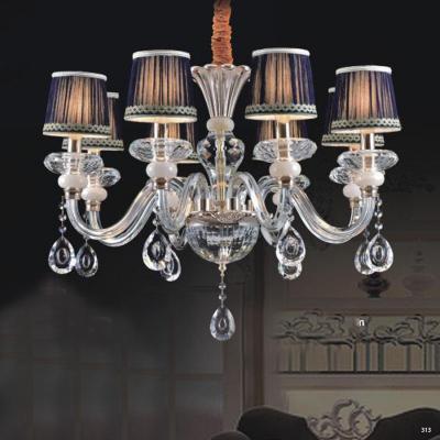 Đèn chùm hiện đại thân đèn bằng hợp kim cao cấp kết hợp với pha lê trong suốt chóa đèn bằng vải đính họa tiết sang trọng 9068-8