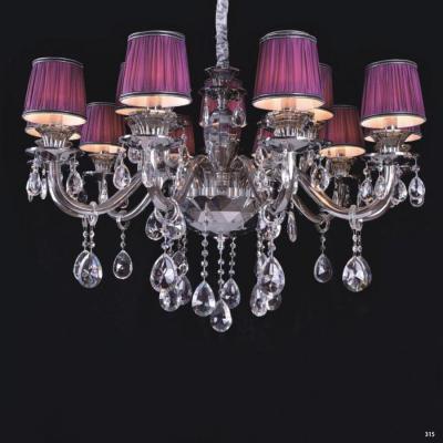 Đèn chùm hiện đại thân đèn bằng hợp kim cao cấp kết hợp với pha lê trong suốt chóa đèn bằng vải đính họa tiết sang trọng 9070-12