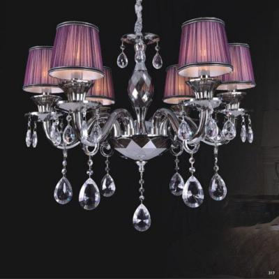 Đèn chùm hiện đại thân đèn bằng hợp kim cao cấp kết hợp với pha lê trong suốt chóa đèn bằng vải đính họa tiết sang trọng 9070-6