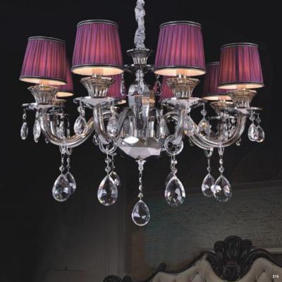 Đèn chùm hiện đại thân đèn bằng hợp kim cao cấp kết hợp với pha lê trong suốt chóa đèn bằng vải đính họa tiết sang trọng 9070-8