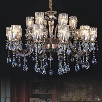 Đèn chùm hiện đại thân đèn bằng hợp kim cao cấp kết hợp với pha lê trong suốt đính nhiều họa tiết sang trọng PLN3007/10+5