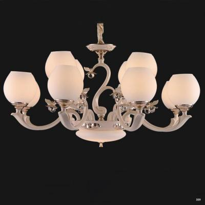 Đèn chùm hiện đại trang trí đèn bằng hợp kim cao cấp kèm họa tiết hoa nổi và chóa đèn bằng thủy tinh sang trọng 831/8+4