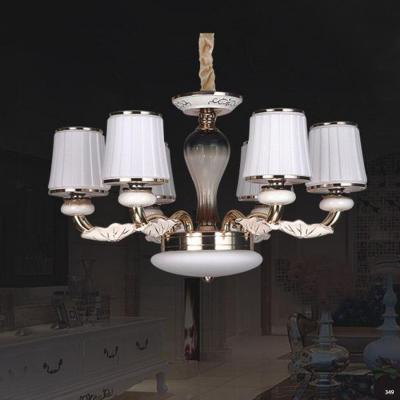 Đèn chùm hiện đại trang trí thân đèn bằng hợp kim cao cấp khắc họa tiết nổi và chóa đèn bằng pha lê sang trọng 832/6