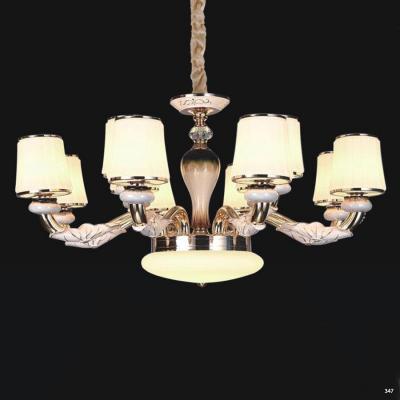 Đèn chùm hiện đại trang trí thân đèn bằng hợp kim cao cấp khắc họa tiết nổi và chóa đèn bằng pha lê sang trọng 832/8+4