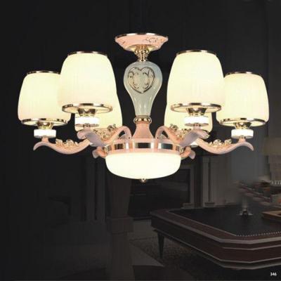 Đèn chùm hiện đại trang trí thân đèn bằng hợp kim cao cấp khắc họa tiết nổi và chóa đèn bằng pha lê sang trọng 853/6