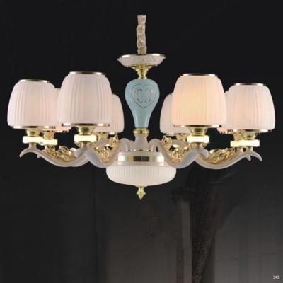 Đèn chùm hiện đại trang trí thân đèn bằng hợp kim cao cấp khắc họa tiết nổi và chóa đèn bằng pha lê sang trọng 853/8