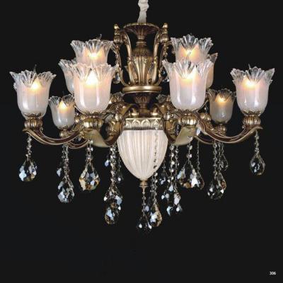 Đèn chùm hiện đại trang trí thân đèn bằng hợp kim cao cấp khắc nhiều hoa văn nổi và đính dây thả pha lê sang trọng PLN3001/10+5