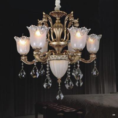 Đèn chùm hiện đại trang trí thân đèn bằng hợp kim cao cấp khắc nhiều hoa văn nổi và đính dây thả pha lê sang trọng PLN3001/6