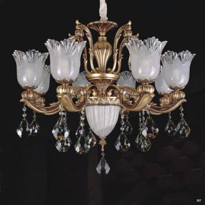 Đèn chùm hiện đại trang trí thân đèn bằng hợp kim cao cấp khắc nhiều hoa văn nổi và đính dây thả pha lê sang trọng PLN3001/8