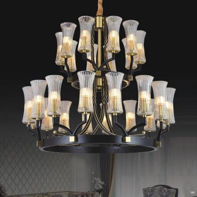 Đèn chùm kiểu dáng Châu Âu 2 tầng thân bằng đồng nguyên chất chóa đèn bằng pha lê kèm họa tiết 3056/(8+5)*2