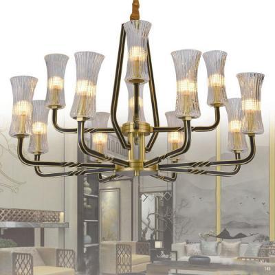 Đèn chùm kiểu dáng Châu Âu 2 tầng thân bằng đồng nguyên chất chóa đèn bằng pha lê khắc họa tiết sang trọng 7010/8+4