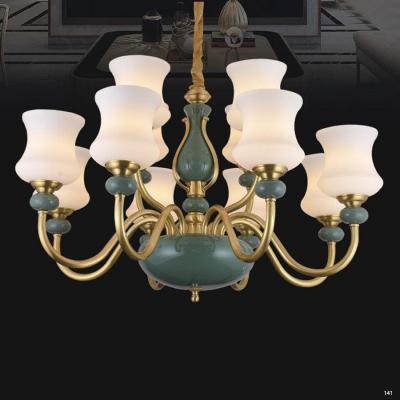 Đèn chùm kiểu dáng Châu Âu thân bằng đồng nguyên chất chao đèn bằng đá nhân tạo cao cấp sang trọng 8803/8+4