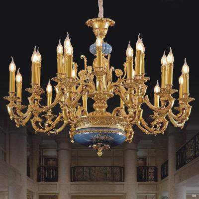 Đèn chùm nến đồng chao khắc nhiều hoa văn tinh xảo Châu Âu sang trọng giá rẻ nhất 9033-12+6+6
