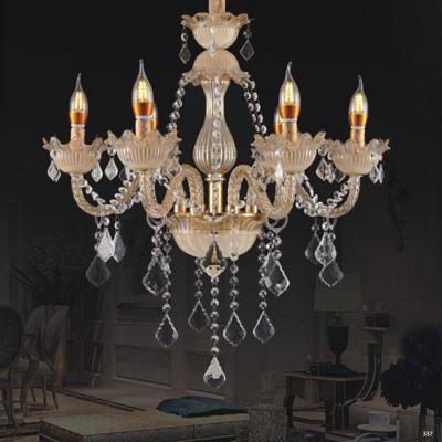 Đèn chùm nến hiện đại thân đèn bằng hợp kim và pha lê trong suốt cao cấp khắc nhiều họa tiết sang trọng 9081/6