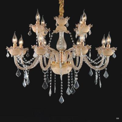 Đèn chùm nến hiện đại thân đèn bằng hợp kim và pha lê trong suốt cao cấp khắc nhiều họa tiết sang trọng 9081/8+4